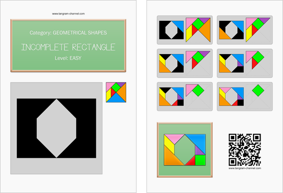 Tangram worksheet 64 : Incomplete rectangle - This worksheet is available for free download at http://www.tangram-channel.com