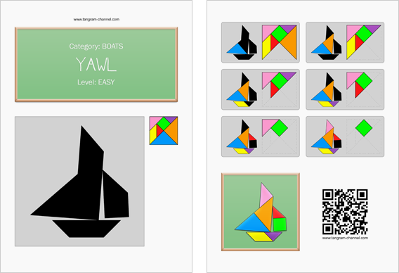 Tangram worksheet 162 : Yawl - This worksheet is available for free download at http://www.tangram-channel.com