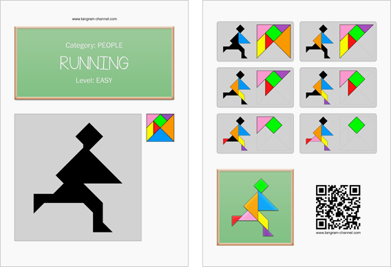 Tangram worksheet 191 : Running - This worksheet is available for free download at http://www.tangram-channel.com
