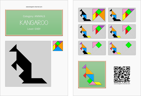 Tangram worksheet 138 : Kangaroo - This worksheet is available for free download at http://www.tangram-channel.com