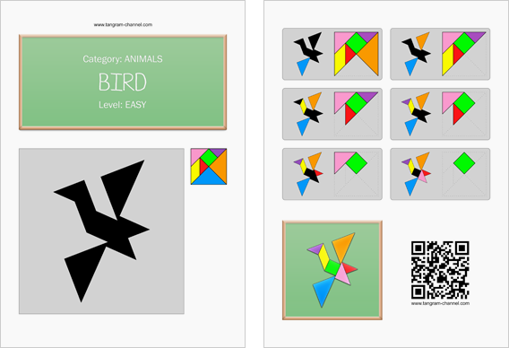 Tangram worksheet 228 : Bird - This worksheet is available for free download at http://www.tangram-channel.com