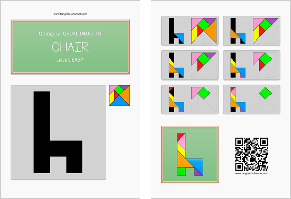 Tangram worksheet 14 : Chair - This worksheet is available for free download at http://www.tangram-channel.com