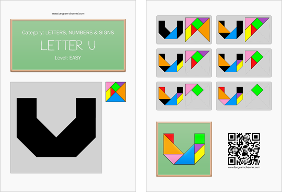 Tangram worksheet 128 : Letter U - This worksheet is available for free download at http://www.tangram-channel.com
