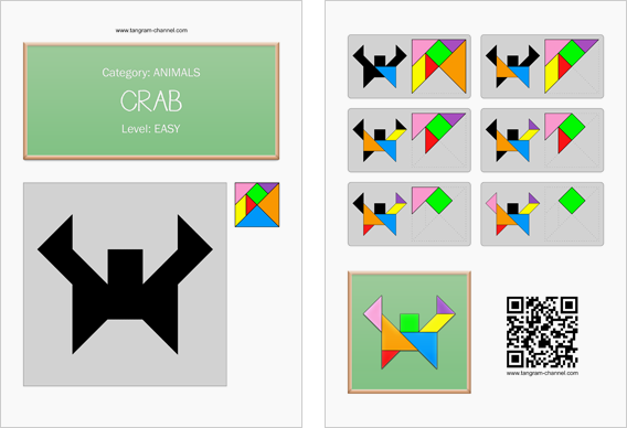 Tangram worksheet 258 : Crab - This worksheet is available for free download at http://www.tangram-channel.com