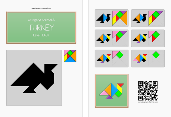 Tangram worksheet 240 : Turkey - This worksheet is available for free download at http://www.tangram-channel.com