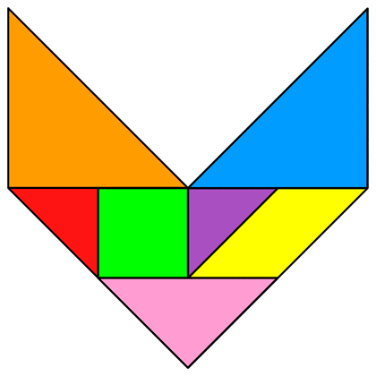 how to make a triangle with 7 tangram pieces