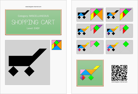 Tangram worksheet 249 : Shopping cart - This worksheet is available for free download at http://www.tangram-channel.com