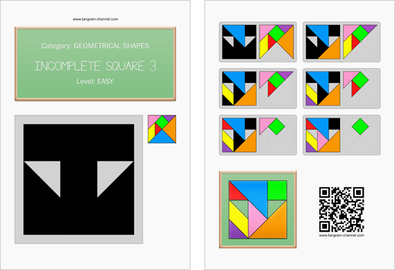 Tangram worksheet 165 : Incomplete square 3 - This worksheet is available for free download at http://www.tangram-channel.com