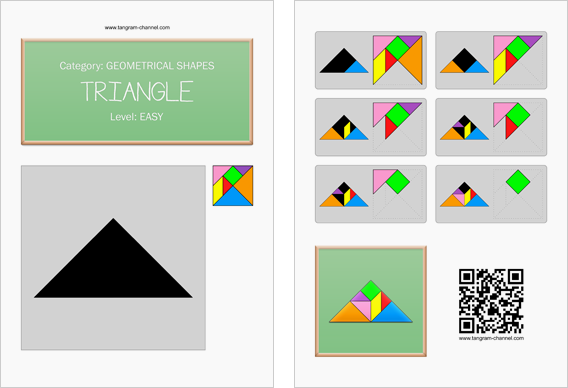 Tangram worksheet 4 : Triangle - This worksheet is available for free download at http://www.tangram-channel.com