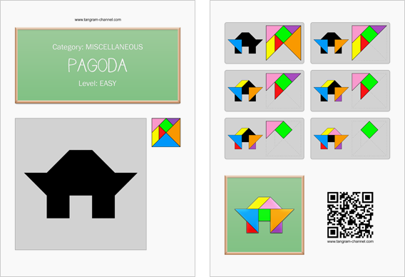 Tangram worksheet 150 : Pagoda - This worksheet is available for free download at http://www.tangram-channel.com