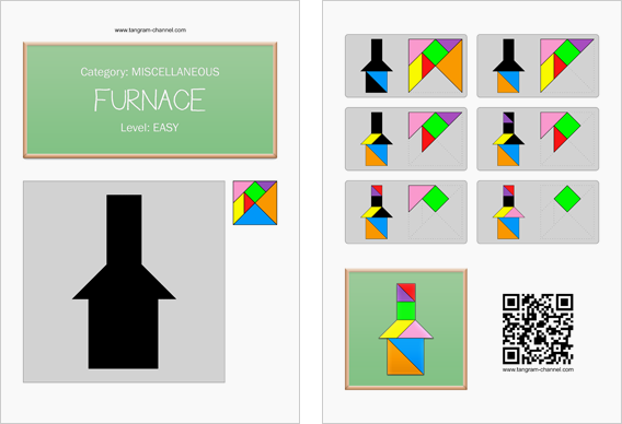 Tangram worksheet 54 : Furnace - This worksheet is available for free download at http://www.tangram-channel.com