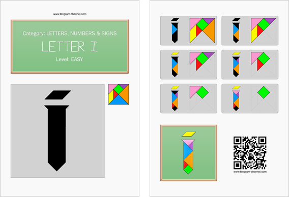 Tangram worksheet 115 : Letter I - This worksheet is available for free download at http://www.tangram-channel.com