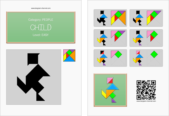 Tangram worksheet 185 : Child - This worksheet is available for free download at http://www.tangram-channel.com