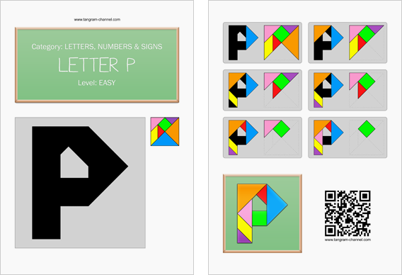 Tangram worksheet 131 : Letter P - This worksheet is available for free download at http://www.tangram-channel.com