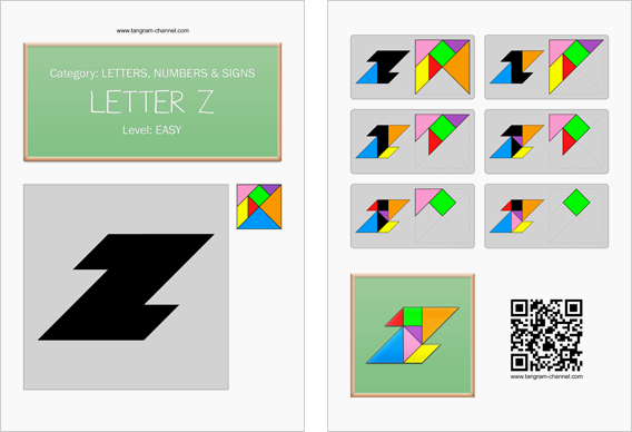 Tangram worksheet 116 : Letter Z - This worksheet is available for free download at http://www.tangram-channel.com