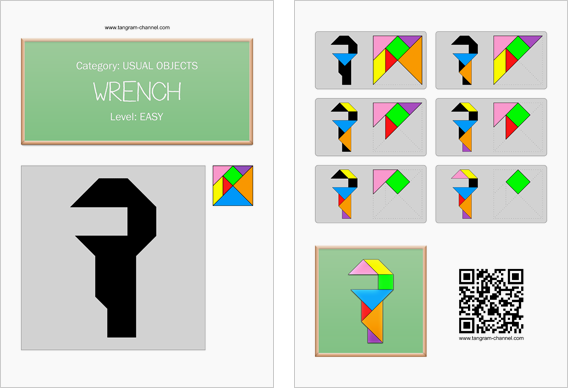Tangram worksheet 143 : Wrench - This worksheet is available for free download at http://www.tangram-channel.com