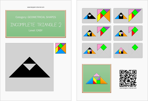 Tangram worksheet 101 : Incomplete triangle 2 - This worksheet is available for free download at http://www.tangram-channel.com