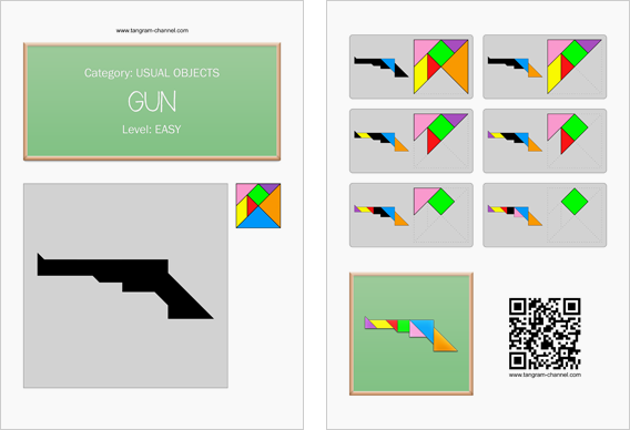 Tangram worksheet 154 : Gun - This worksheet is available for free download at http://www.tangram-channel.com