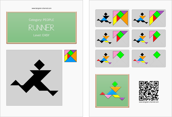 Tangram worksheet 137 : Runner - This worksheet is available for free download at http://www.tangram-channel.com