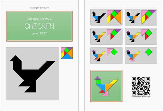 Tangram worksheet 234 : Chicken - This worksheet is available for free download at http://www.tangram-channel.com