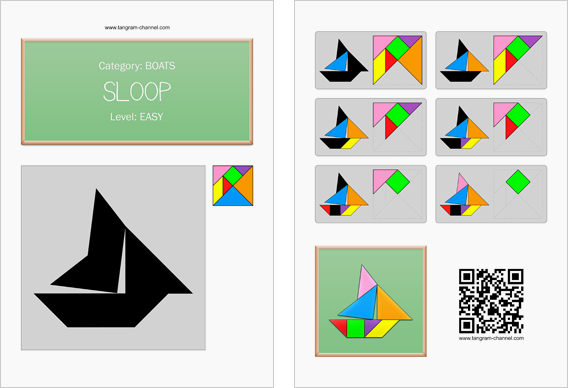 Tangram worksheet 24 : Sloop - This worksheet is available for free download at http://www.tangram-channel.com