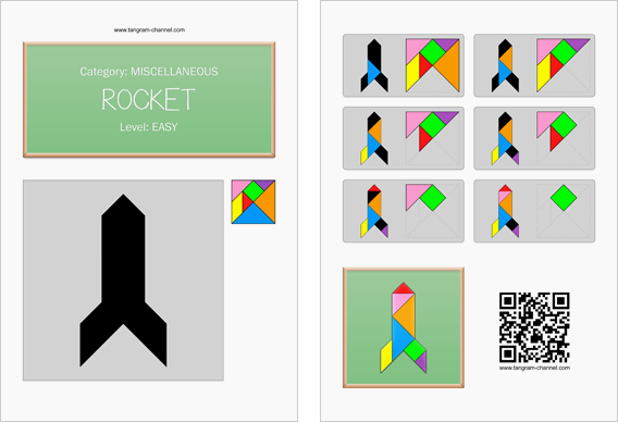 Tangram worksheet 57 : Rocket - This worksheet is available for free download at http://www.tangram-channel.com
