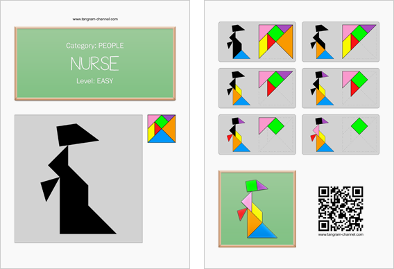 Tangram worksheet 135 : Nurse - This worksheet is available for free download at http://www.tangram-channel.com