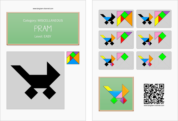 Tangram worksheet 140 : Pram - This worksheet is available for free download at http://www.tangram-channel.com