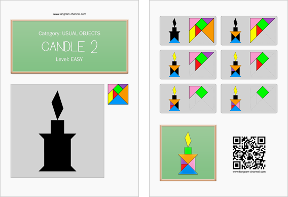Tangram worksheet 176 : Candle 2 - This worksheet is available for free download at http://www.tangram-channel.com