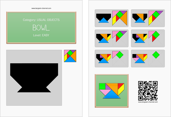 Tangram worksheet 155 : Bowl - This worksheet is available for free download at http://www.tangram-channel.com