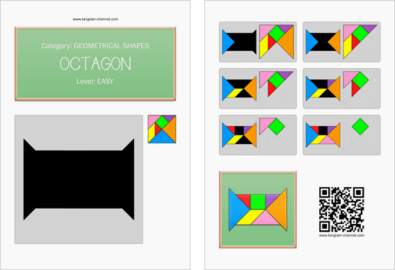 Tangram worksheet 94 : Octagon - This worksheet is available for free download at http://www.tangram-channel.com