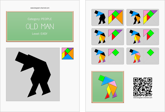 Tangram worksheet 136 : Old man - This worksheet is available for free download at http://www.tangram-channel.com