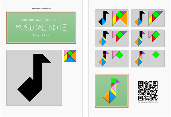Tangram worksheet 237 : Musical note - This worksheet is available for free download at http://www.tangram-channel.com