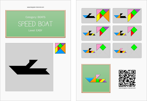 Tangram worksheet 230 : Speed boat - This worksheet is available for free download at http://www.tangram-channel.com