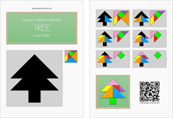 Tangram worksheet 267 : Tree - This worksheet is available for free download at http://www.tangram-channel.com