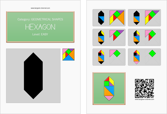 Tangram worksheet 18 : Hexagon - This worksheet is available for free download at http://www.tangram-channel.com