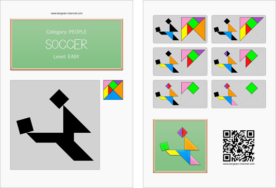 Tangram worksheet 221 : Soccer - This worksheet is available for free download at http://www.tangram-channel.com