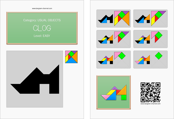 Tangram worksheet 265 : Clog - This worksheet is available for free download at http://www.tangram-channel.com
