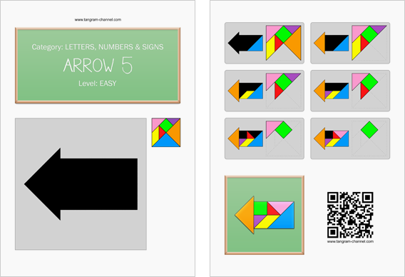 Tangram worksheet 33 : Arrow 5 - This worksheet is available for free download at http://www.tangram-channel.com