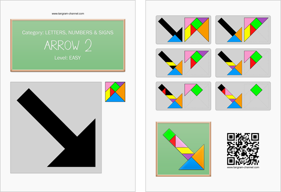 Tangram worksheet 12 : Arrow 2 - This worksheet is available for free download at http://www.tangram-channel.com