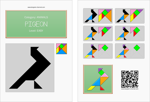 Tangram worksheet 186 : Pigeon - This worksheet is available for free download at http://www.tangram-channel.com
