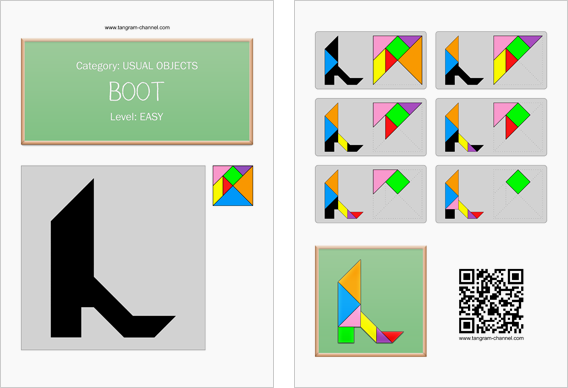 Tangram worksheet 61 : Boot - This worksheet is available for free download at http://www.tangram-channel.com