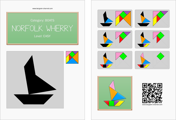 Tangram worksheet 84 : Norfolk wherry - This worksheet is available for free download at http://www.tangram-channel.com