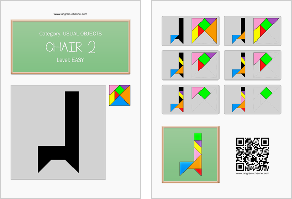 Tangram worksheet 181 : Chair 2 - This worksheet is available for free download at http://www.tangram-channel.com