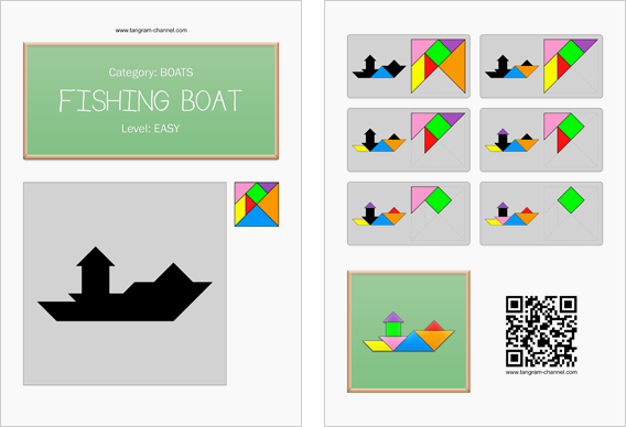 Tangram worksheet 218 : Fishing boat - This worksheet is available for free download at http://www.tangram-channel.com