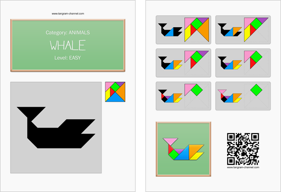 Tangram worksheet 92 : Whale - This worksheet is available for free download at http://www.tangram-channel.com