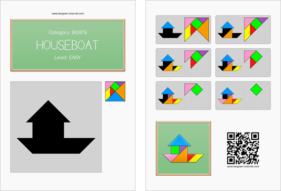 Tangram worksheet 51 : Houseboat - This worksheet is available for free download at http://www.tangram-channel.com