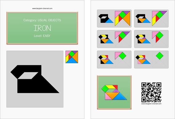 Tangram worksheet 141 : Iron - This worksheet is available for free download at http://www.tangram-channel.com