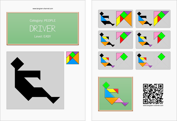 Tangram worksheet 43 : Driver - This worksheet is available for free download at http://www.tangram-channel.com
