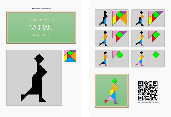 Tangram worksheet 144 : Woman - This worksheet is available for free download at http://www.tangram-channel.com